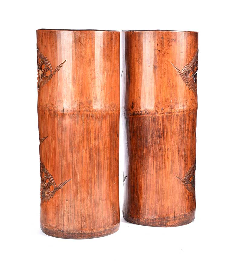 Lot 21 - PAIR OF CARVED CHINESE BRUSH POTS