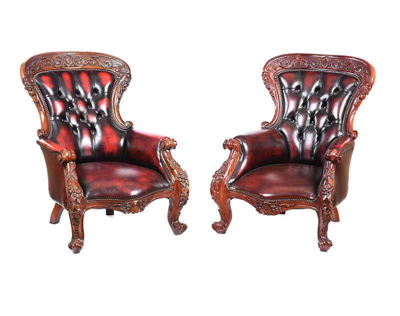 Lot 6 - PAIR OF LEATHER ARMCHAIRS