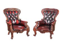 PAIR OF LEATHER ARMCHAIRS