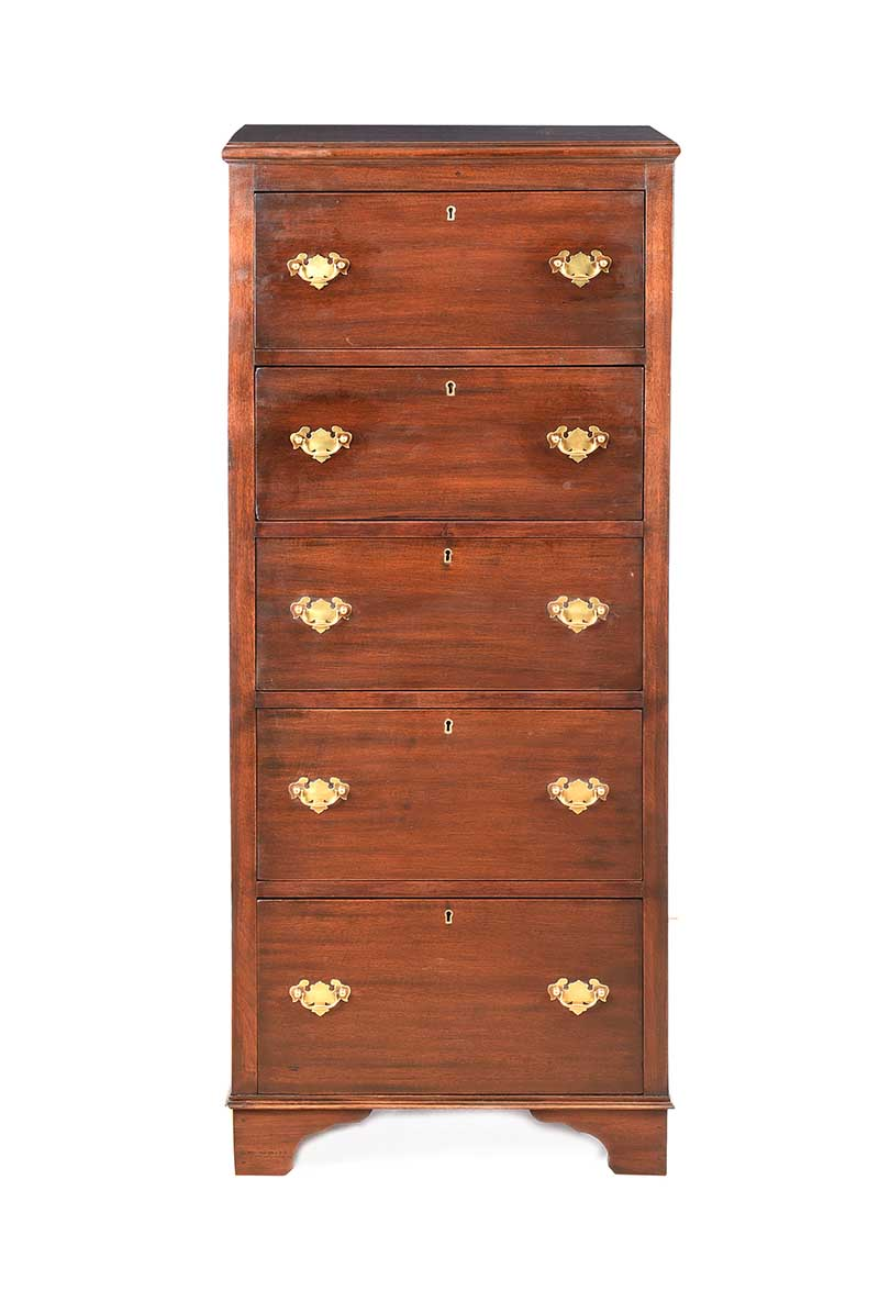 Lot 27 - MAHOGANY TALL BOY CHEST OF DRAWERS