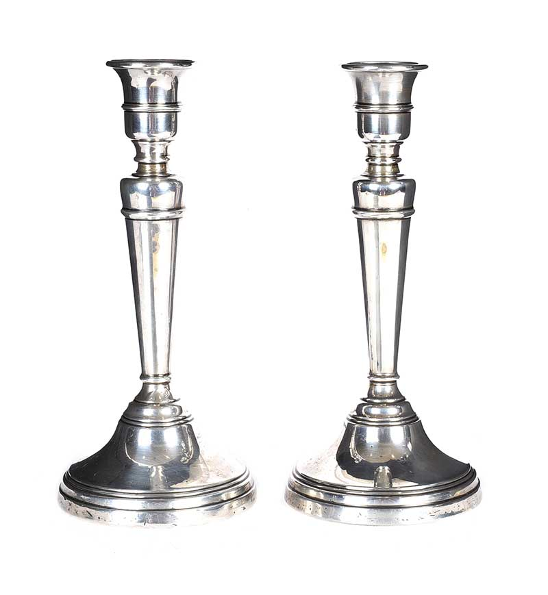 Lot 22 - PAIR OF SILVER CANDLESTICKS