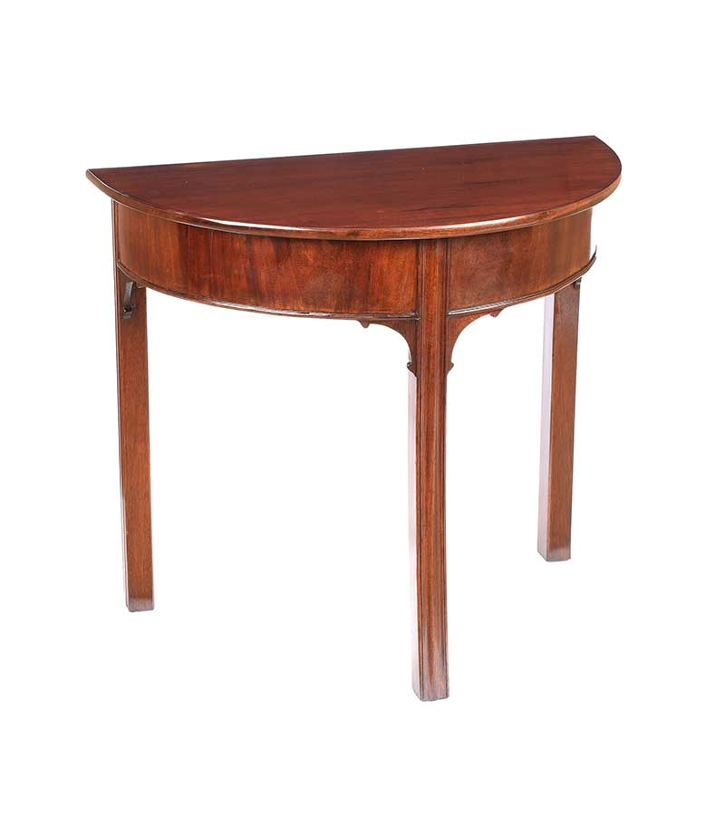 Lot 24 - GEORGIAN MAHOGANY DEMI LUNE HALL TABLE