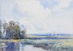 Frank McKelvey, RHA RUA - SHEEP GRAZING BY A RIVER - Watercolour Drawing - 10 x 15 inches - Signed