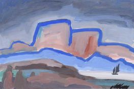 Markey Robinson - SAILING BY DISTANT MOUNTAINS - Gouache on Board - 13 x 18 inches - Signed