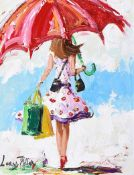 Lorna Millar - OUT SHOPPING - Oil on Board - 16 x 12 inches - Signed