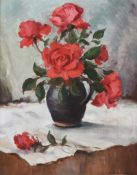 Maurice Canning Wilks, ARHA RUA - STILL LIFE, ROSES IN A JUG - Oil on Canvas - 20 x 16 inches -