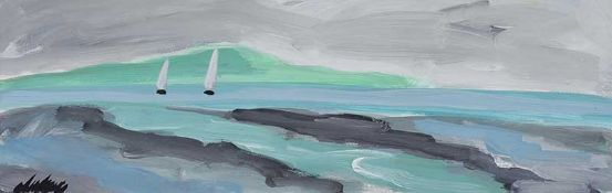 Markey Robinson - EARLY MORNING SAIL - Gouache on Board - 7 x 20 inches - Signed