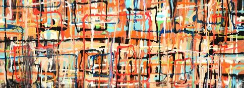 Kevin Sharkey - ANOTHER BRICK IN THE WALL II - Oil on Board - 18 x 48 inches - Signed