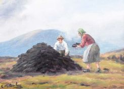 Charles McAuley - STACKING TURF - Oil on Canvas - 10 x 14 inches - Signed