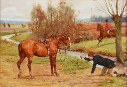 George Goodwin Kilburne, RI ROI RMS- BETTER LUCK NEXT TIME - Oil on Board - 7 x 10 inches - Signed