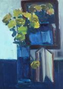 Brian Ballard, RUA - STILL LIFE, ROSES WITH BOOK - Oil on Canvas - 28 x 20 inches - Signed