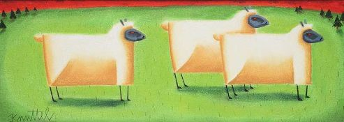 Graham Knuttel - THREE SHEEP - Mixed Media - 10.5 x 30 inches - Signed
