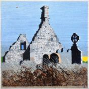 Colin Middleton, RHA RUA - CHURCH RUINS - Oil on Board - 6 x 6 inches - Signed in Monogram