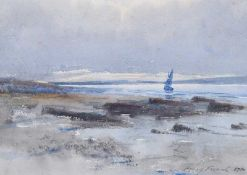 William Percy French - ESTUARY WITH SAIL BOAT & SAND DUNES - Watercolour Drawing - 7 x 9 inches -