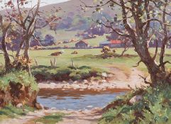 Donal McNaughton - CATTLE BY THE RIVER DUN - Oil on Board - 16 x 22 inches - Signed