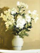 Martin Mooney - CHRYSANTHEMUMS IN A BLUE & WHITE VASE - Oil on Board - 48 x 36 inches - Signed in