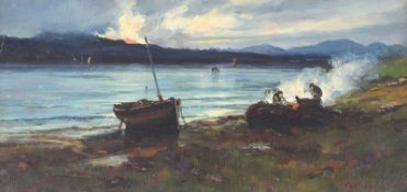 Colin Hunter, ARA - EVENING CAMP BY THE LOUGH - Oil on Board - 8 x 16 inches - Signed