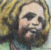 William Conor, RHA RUA - LAUGHING MILL GIRL - Wax Crayon on Paper - 6.5 x 7 inches - Signed