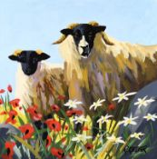 Ronald Keefer - SHEEP & POPPIES - Oil on Board - 24 x 24 inches - Signed