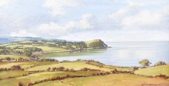 Samuel McLarnon, UWS - BALLYGALLY HEAD, COUNTY ANTRIM - Oil on Canvas - 16 x 30 inches - Signed