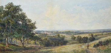 John Faulkner, RHA - SUMMER LANDSCAPE - Watercolour Drawing - 19 x 39 inches - Signed