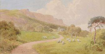 Joseph William Carey, RUA - SHEEP GRAZING, CAVEHILL, BELFAST - Watercolour Drawing - 7.5 x 13.5