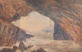 Andrew Nicholl, RHA - PIGEON CAVE, LOUGH SWILLY - Watercolour Drawing - 9 x 13 inches - Signed
