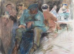 Lindy Guinness - PUB INTERIOR - Pastel on Paper - 19 x 24.5 inches - Signed
