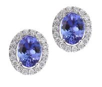 18CT WHITE GOLD TANZANITE AND DIAMOND EARRINGS