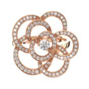 18CT ROSE GOLD DIAMOND FLORAL RING