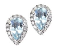 9CT WHITE GOLD AQUAMARINE AND DIAMOND EARRINGS