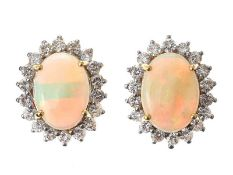 18CT GOLD OPAL AND DIAMOND CLUSTER EARRINGS
