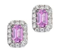 18CT WHITE GOLD PINK SAPPHIRE AND DIAMOND EARRINGS