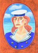 Graham Knuttel - SAILOR GIRL - Pastel on Paper - 30 x 22 inches - Signed