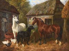 John Frederick Herring, JNR - THE FARMYARD - Oil on Canvas - 18 x 24 inches - Signed