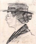 William Conor, RHA RUA - THE SPINSTER - Pencil on Paper - 4 x 3 inches - Unsigned