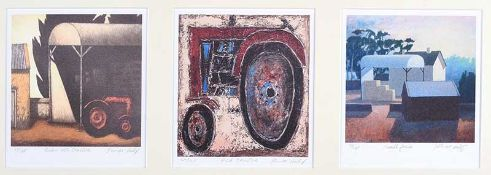 John McNulty - BARN WITH TRACTOR, RED TRACTOR & SMALL FARM - Set of Three Limited Edition Coloured