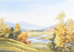 Robert Egginton - AUTUMN ON THE DEE - Watercolour Drawing - 14.5 x 21 inches - Signed
