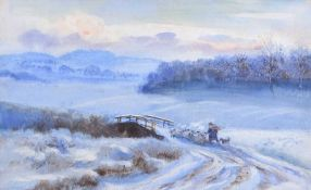 William Doherty Weir - WINTER EVENING - Watercolour Drawing - 9 x 14 inches - Unsigned