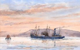 William A. Hume - SS COMBER, KELLY'S COAL BOAT - Watercolour Drawing - 10 x 15 inches - Signed
