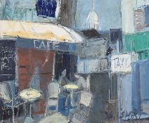 S. Ishiri - CAFE, PARIS STREET - Oil on Canvas - 18 x 21.5 inches - Signed