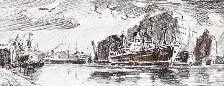 Maurice Canning Wilks, ARHA, RUA - BOATS AT THE QUAYSIDE - Pen & Ink Drawing - 3 x 8 inches -