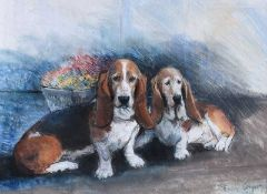 Hilary Bryson - TWO BASSETT HOUNDS - Pastel on Paper - 14 x 19 inches - Signed