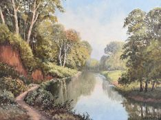 William Henry Burns - ON THE LAGAN NEAR BARNETT'S PARK - Oil on Canvas - 18 x 24 inches - Signed
