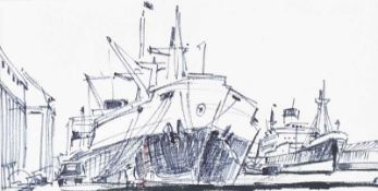 Maurice Canning Wilks, ARHA, RUA - UNLOADING AT THE DOCKS - Pen & Ink Drawing - 4 x 8 inches -