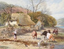 Myles Birket Foster, RWS - KILLGATE FARM ON THE RIVER DART - Watercolour Drawing - 9 x 11 inches -