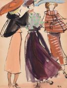 Gladys Maccabe, HRUA - WINTER STYLE, THREE FASHION MODELS - Watercolour Drawing - 12 x 9.5
