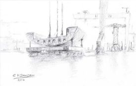 Colin H. Davidson - LOWERING THE SECTION - Pencil on Paper - 5 x 8 inches - Signed