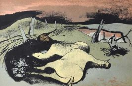 William Scott, RA - FALLEN HORSES - Coloured Lithograph - 5 x 8 inches - Unsigned