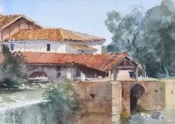 Francis Murray Russell Flint, ROI - A MILL AT HOMPS GEMME, FRANCE - Watercolour Drawing - 10.5 x